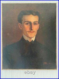 Ancienne huile sur toile portrait d'un jeune homme