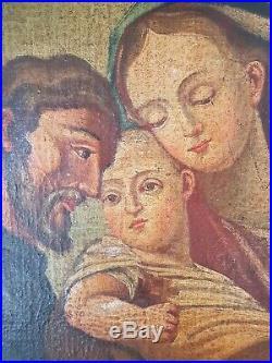 Ancienne peinture religieuse huile sur toile époque XVIII ème
