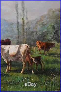 André CORTES (1812-1879) BARBIZON HUILE SUR TOILE TABLEAU ANCIEN CADRE