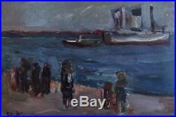 André BLONDEL (1909-1949). Départ de bateau Huile sur toile. V310