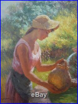 André Galzenati tableau huile sur toile jeune femme à la fontaine XXe siècle