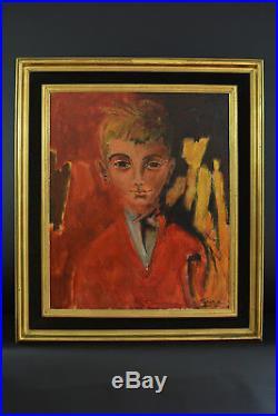 Antonio Guansé Beau tableau ancien Portrait de garçon au pull Rouge signé hst