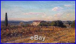 Auguste Roure, Environs d'Avignon, Huile sur toile v89