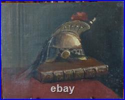 Auteur à identifier, Nature morte au casque de Cuirassier, fin XIXe, HSC