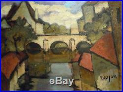Aveyron 12 Millau Tableau huile sur toile Roujon Lavoirs sur l'Eure