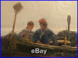 Bateau, pêcheurs et femmes de marins sur la grève, ec italienne, Giuseppe Carelli