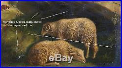 Beau Barbizon 1856. Paysage Aux Deux Moutons. A Restaurer & Trace De Signature