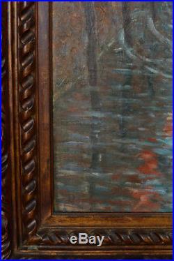 Beau Tableau Impressionniste huile s. Toile 19e par Dambourgez ville du nord