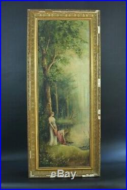 Beau Tableau ancien Portrait Femme Paysage arboré bord rivière Forêt art nouveau