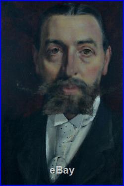 Beau Tableau ancien Portrait d'homme Blason Aristocrate Bacchantes sv G. Boldini