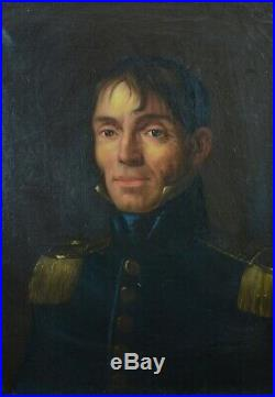 Beau Tableau ancien Portrait de Jeune Homme Officier HST 1850 Corse Italie