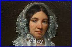 Beau portrait femme 1842, Ecole romantique, dentelle, coiffe, camée, collier, bijou