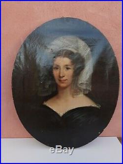 Beau portrait femme Arlésienne a vue ovale huile sur toile