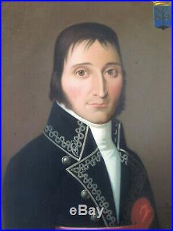 Beau portrait homme noble XIX noblesse empire huile sur toile ancienne