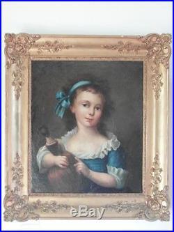 Beau portrait huile sur toile 19eme siècle