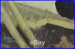 Beau tableau ancien Paysage Bord de mer animé Plage Brésil Pablo Matania XXéme