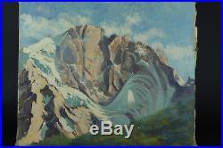 Beau tableau ancien Paysage Hst Alpes Neige Sommet Hiver Montagne sv Contencin
