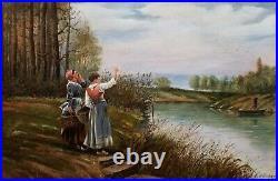 Beau tableau ancien fin XIXE début XXÈME, L'appel au passeur