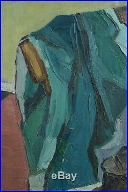 Beau tableau ancien nature morte au godillot Soulier costume chaise signé 1930