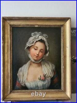 Beau tableau personnage de Greuze Huile sur toile fin XVIII déb. XIXème portrait