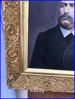 Beau tableau toile portrait d'un bourgeois Fin XIXe début 1900 Cadre Louis XV