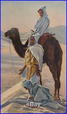 Bel et étonnant tableau orientaliste HST la prière signé Odette Brunelet