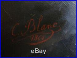 Belle huile du XIX e siècle signée C. BLANC 1854 portrait d'homme assis