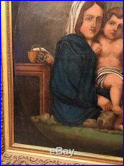 Belle huile toile tableau VIERGE A L'ENFANT XVIIIe 70X55cm VENDUE SANS CADRE