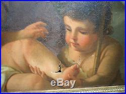 Belle peinture religieuse Saint Anne et l'enfant jésus époque XVIIIème siècle
