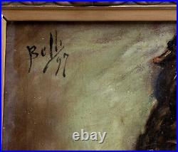 Benito Belli 1850-1899. Grand & Puissant Portrait D'homme Au Casque Viking