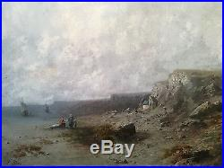 Bord De Côte En Normandie, huile sur toile XIXe