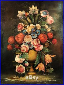 Bouquet de fleurs, huile sur toile marouflée sur panneau Signée Pierry