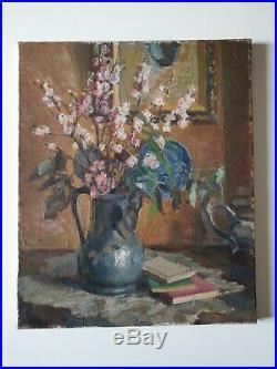 Bouquet de fleurs japonisant Huile/Toile Belle maitrise Vers 1930 rare #CKDB