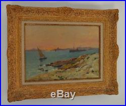 CASILE Alfred (1848-1909) Coucher de soleil îles du Frioul Marseille Provence