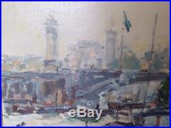 CHARLES MALLE (1935) Huile sur toile Péniche au pont Alexandre III à Paris