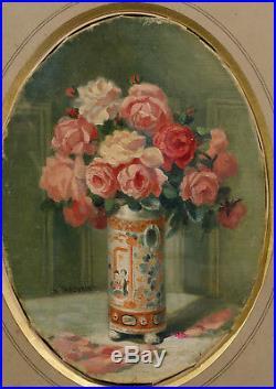 CHARMANT TABLEAU ANCIEN BOUQUET DE ROSES FLEURS VASE CHINOIS SIGNé VERS 1920