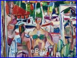 CLAUDE SCHURR Peinture sur toile figurant Juan les Pins