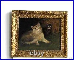 Cadre Ancien Bois Dore Peinture Huile Sur Toile Deux Chats