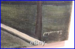 Capron jean-pierre ruelle de village au couché huile sur toile 20F