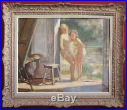 Cesare Bacchi Tableau Femme Nue Modele Atelier Art Deco Oil Painting Nude Woman