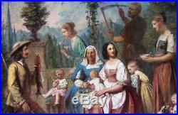 Charles A. Herbe 1801-1884. Vaste Scène Familiale De Campagne. Grande Toile 1859