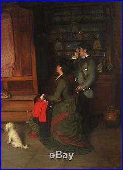 Charles Auguste Corbineau Tableau Scene Interieur Bretagne Ou Vendee Paysans