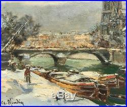 Charles Blondin Peinture Hst Uvre Originale Paris Scène De Neige Notre Dame