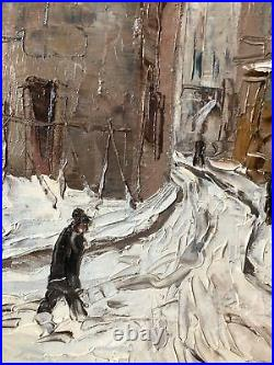 Charles MANGIN Vue de Paris Montmartre sous la Neige vers 1930 hst 46x55 cm