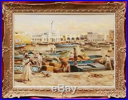 Charles PRÉLAT tableau orientaliste port ALGER paysage Algérie Bassin Amirauté