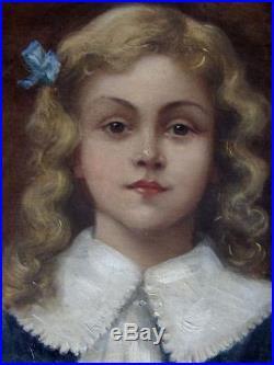 Charmant Portrait Impressionniste 1900. La Jeune Fille Au Ruban Bleu