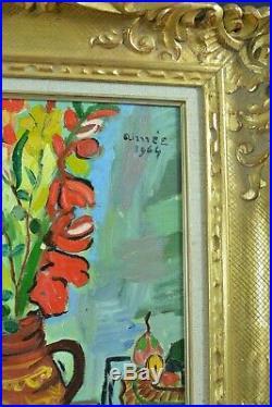 Charmant tableau ancien Suzanne Valadon Nature morte Glaieuls signé Ferez cadre