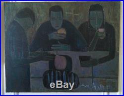 Chef d'oeuvre primitiviste Julien PY catalan, Collioure importante toile 1964