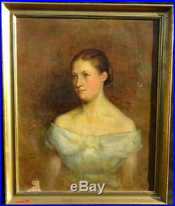 Clements Portrait de femme Ecole française Huile sur toile fin XIXème siècle