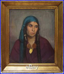 Constant Clety Peintre Tableau Portrait Femme Berbere Algerie Orientalisme Huile